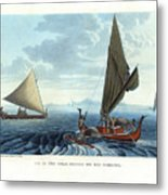 Dugout Outriggers From The Carolines Seen On Tinian Island Metal Print by d apres A Berard and A Taunay