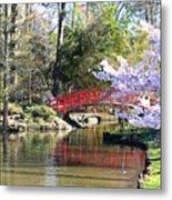 Duke Garden Spring Bridge Metal Print