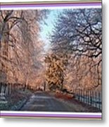 Dundalk Avenue In Winter. L A With Decorative Ornate Printed Frame. Metal Print