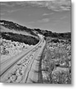 Dune Path In Black And White Metal Print