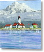 Dungeness Lighthouse With Mount Baker Metal Print