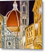 Duomo At Night Metal Print