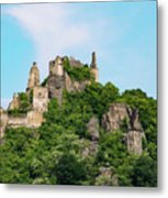 Durnstein Castle And Stone Outcroppings Metal Print