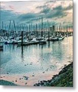 Dusk At Breskens Harbor Metal Print