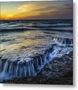 Dusk At Torregorda Beach San Fernando Cadiz Spain Metal Print