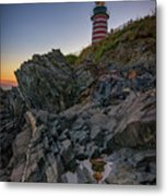 Dusk At West Quoddy Head Lighthouse Metal Print