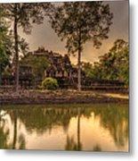 Dusk Light Preah Khan Temple Reflection Metal Print