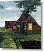 Dutch Farm At Dusk Metal Print