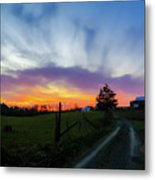 Dutch Lane In Evening Sky Metal Print