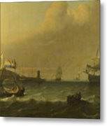Dutch Men Of War Entering A Mediterranean Port Metal Print