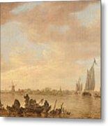 Dutch Seascape With Fishings Boats Metal Print