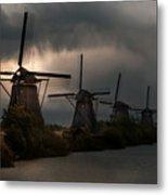 Dutch Windmills In Kinderdjik Metal Print