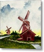 Dutch Windmills Metal Print