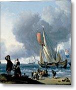 Dutchman Embarking Onto A Yacht Metal Print