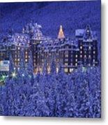D.wiggett Banff Springs Hotel In Winter Metal Print
