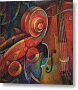 Dynamic Duo - Cello And Scroll Metal Print