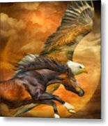 Eagle And Horse - Spirits Of The Wind Metal Print