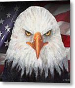 Eagle And The Flag Metal Print by Arline Wagner