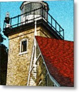 Eagle Bluff Lighthouse Re-imagined Metal Print