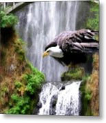 Eagle By The Waterfall Metal Print
