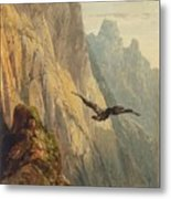 Eagle Circling Before A Cliff Face Metal Print