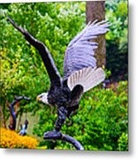 Eagle In The Garden Metal Print