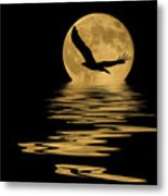 Eagle In The Moonlight Metal Print