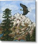 Eagle To Eaglets In Nest Metal Print