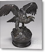 Eagle With Wings Outstretched And Open Beak Metal Print