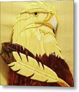 Eaglehead With Two Feathers Metal Print