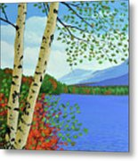 Early Autumn Birches Metal Print