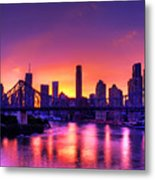 Early Brisbane Sunset With Purple And Yellow Sky Metal Print