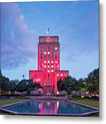 Early Dawn Architectural Photograph Of Houston City Hall And Hermann Square - Downtown Houston Texas Metal Print