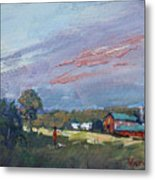 Early Evening At Phil's Farm Metal Print