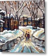 Original Montreal Paintings For Sale Winter Walk After The Snowfall Exceptional Canadian Art Spandau Metal Print