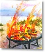 Early Morning Beach Bonfire Metal Print