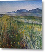 Early Morning Fog In The Foothills Of The Overberg Range Of Mountains Near Heidelberg South Africa. Metal Print