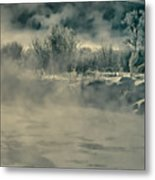 Early Morning Frost On The River Metal Print