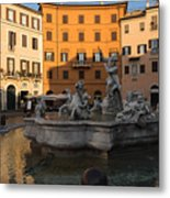 Early Morning Glow - Neptune Fountain On Piazza Navona In Rome Italy Metal Print
