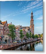 Early Morning In Amsterdam With Canal Metal Print