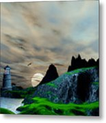 Early Morning Ocean Lighthouse Scene Metal Print