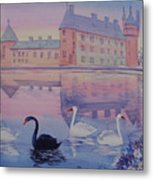 Early Morning Upon  A Manor Lake.landscape Of France. Metal Print