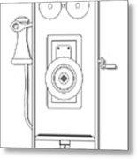 Early Telephone Line Drawing Metal Print