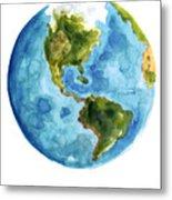 Earth America Watercolor Poster Metal Print