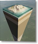 Earth Core Structure Cut-away Metal Print