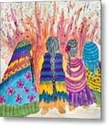 Earth Mothers - Feeding  The Fire Metal Print