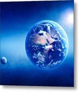Earth Sunrise Deep Space Metal Print