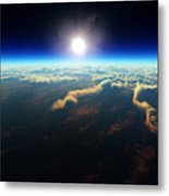 Earth Sunrise From Outer Space Metal Print