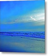East Coast Florida Daytona Beach Morning Walkers   Metal Print