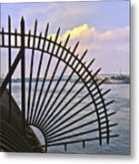 East River View Through The Spokes Metal Print